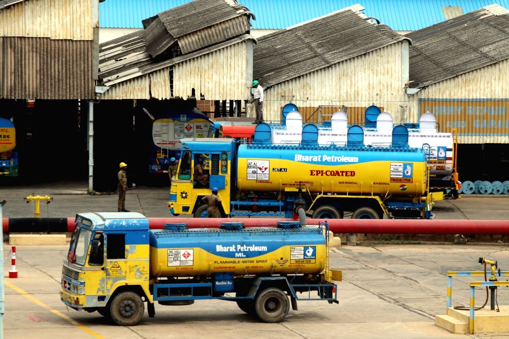 Tankers remain parked as the owners of tanker lorries working on contract with Bharat Petroleum and Hindustan Petroleum, go on strike to press for higher rental rates, in Chennai on July 9, ...
