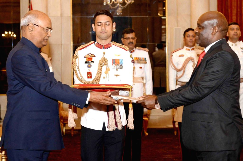 Tanzania High Commissioner-designate Baraka Haran Luvanda presents his credentials to President Ram Nath Kovind at Rashtrapati Bhavan in New Delhi on Sept 19, 2017. - Nath Kovind