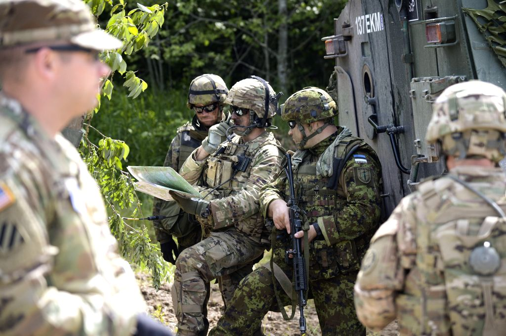 TAPA, June 18, 2016 - U.S. army and Estonian defence force soldiers take part in Saber Strike military exercise at Central Firing Field of Estonian Defence forces in Tapa, Estonia, on June 17, 2016. ...