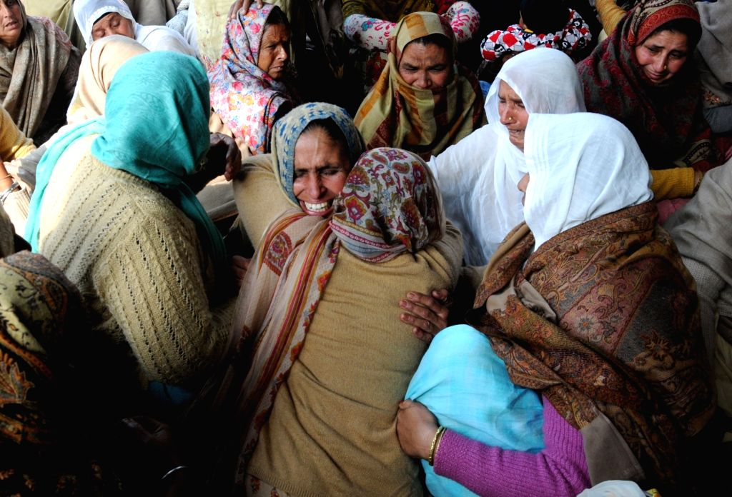 Tarn Taran: Bereaves family members of Sukhjinder Singh, one of the 49 CRPF personnel killed in a suicide attack by militants in Jammu and Kashmir's Pulwama district on 14th Feb 2019; in Punjab's ... - Sukhjinder Singh
