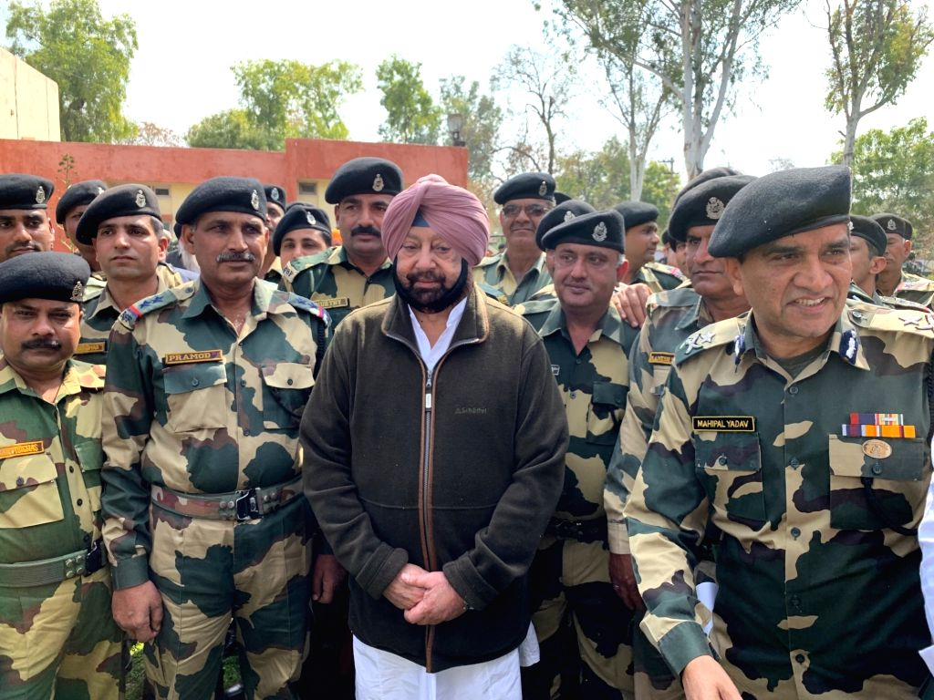 Tarn Taran: Punjab Chief Minister Captain Amarinder Singh during a tour of border areas in Tarn Taran district as part of his confidence-building measures for residents, on Feb 28, 2019. (Photo: IANS) - Captain Amarinder Singh