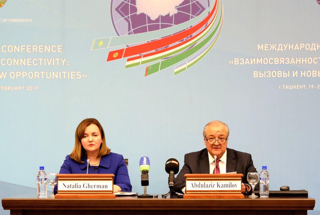TASHKENT, Feb. 20, 2019 - Uzbek Foreign Minister Abdulaziz Kamilov (R) speaks during a press conference in Tashkent, Uzbekistan, Feb. 20, 2019. A two-day international conference to discuss ways of ... - Abdulaziz Kamilov