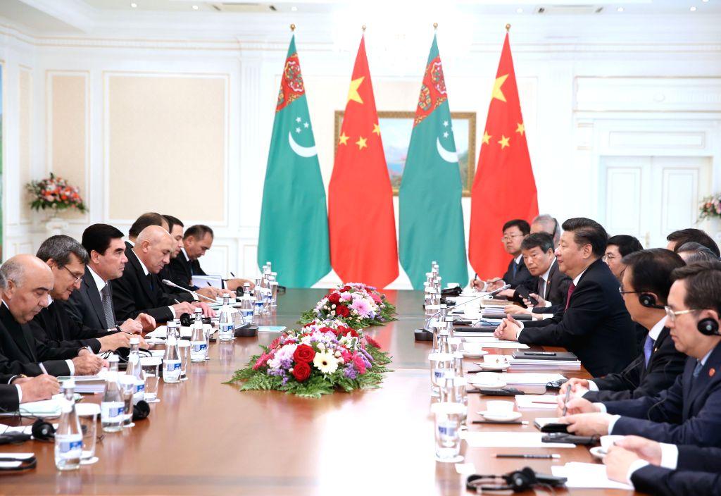 TASHKENT, June 23, 2016 - Chinese President Xi Jinping meets with Turkmen President Gurbanguly Berdymukhamedov in Tashkent, Uzbekistan, June 23, 2016. (mcg/zkr)