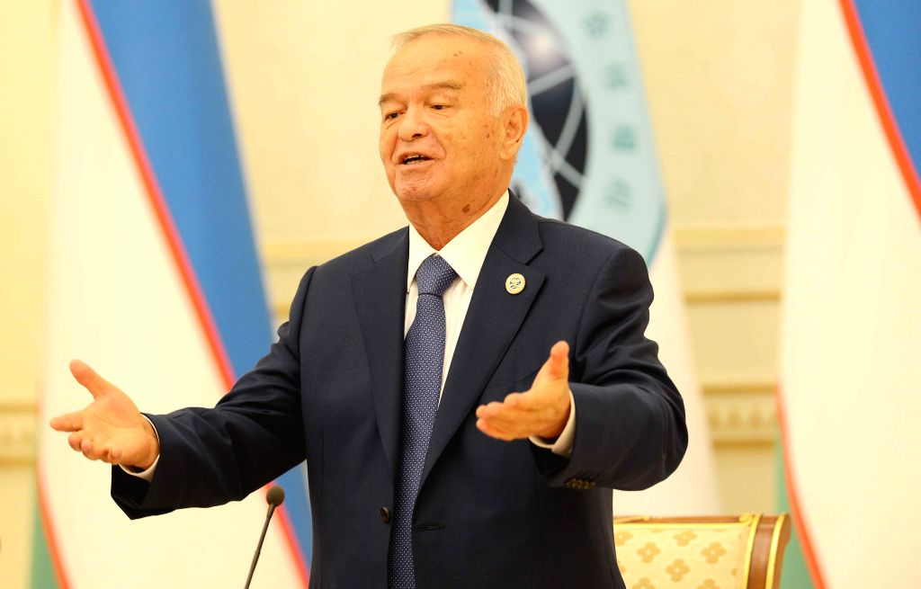 TASHKENT, June 25, 2016 - Uzbek President Islam Karimov attends a press conference to introduce the achievements of the 16th meeting of the Council of Heads of State of the Shanghai Cooperation ...