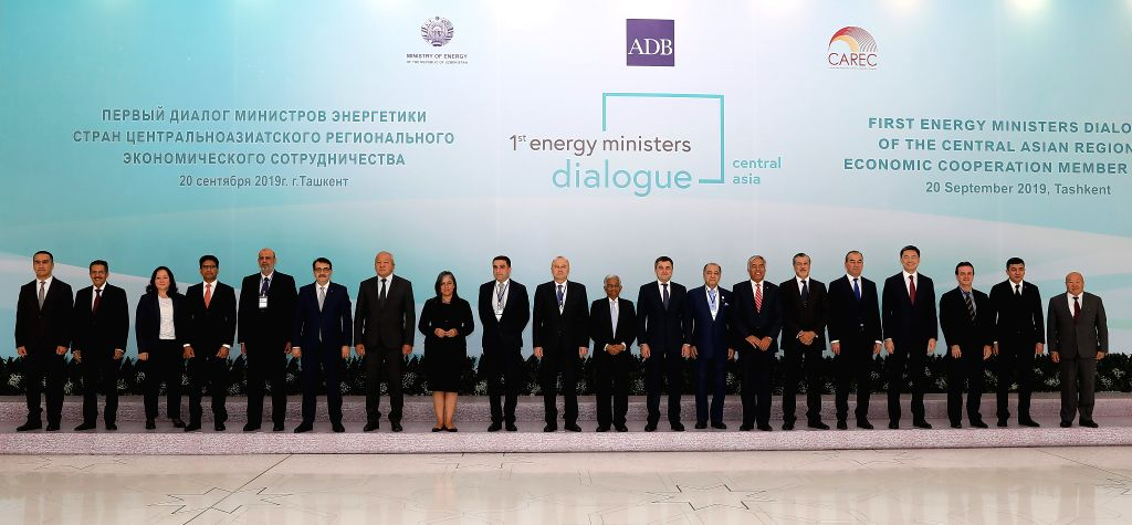 TASHKENT, Sept. 21, 2019 - Participants pose for a group photo after the CAREC Energy Ministers' Dialogue in Tashkent, Uzbekistan, on Sept. 20, 2019. Nine countries from the Central Asia Regional ...