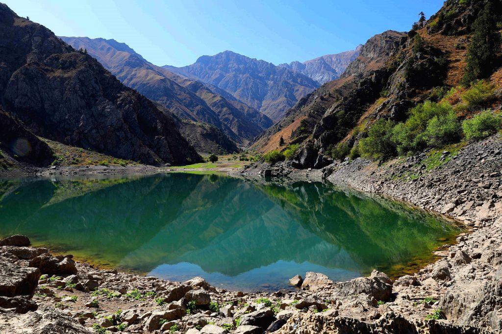 TASHKENT, Sept. 29, 2019 - Photo taken on Sept. 17, 2019 shows a view of the Urungach Lake in Ugam-Chatkal National Park, some 160 km from the Tashkent City, Uzbekistan.