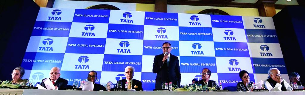 Tata Global Beverages chairman N. Chandrasekaran addresses share holders in the presence of other Board of Directors during the 54th Annual General Meeting of the company in Kolkata on Aug ...