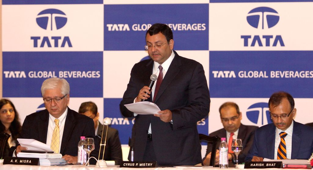 Tata Group Chairman Cyrus Pallonji Mistry addresses during 52nd AGM of Tata Global Beverages Limited in Kolkata, on Aug 14, 2015.