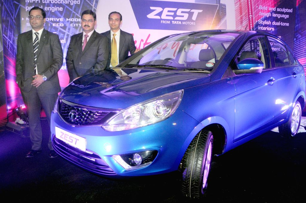 TATA Motors Head Product and Planning Girish Wagh,  Marketing Head Virat Khullar and Regional Manager (South) Nakul Gupta at the launch of `Zest` in Bangalore on Aug 19, 2014. - Nakul Gupta