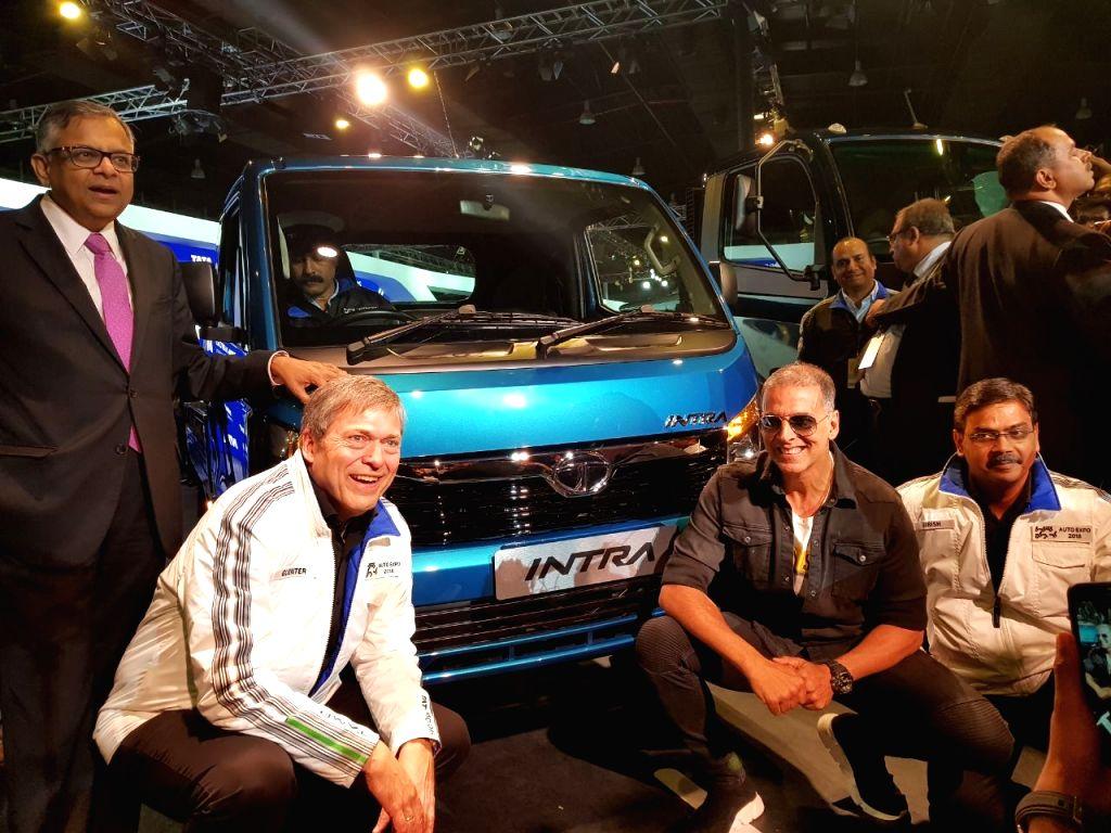 Tata Sons and Tata Motors Chairman N. Chandrasekaran, Tata Motors CEO and MD Guenter Butschek, Tata Motors Commercial Vehicle Business Unit President Girish Wagh and Brand Ambassador ... - Akshay Kumar