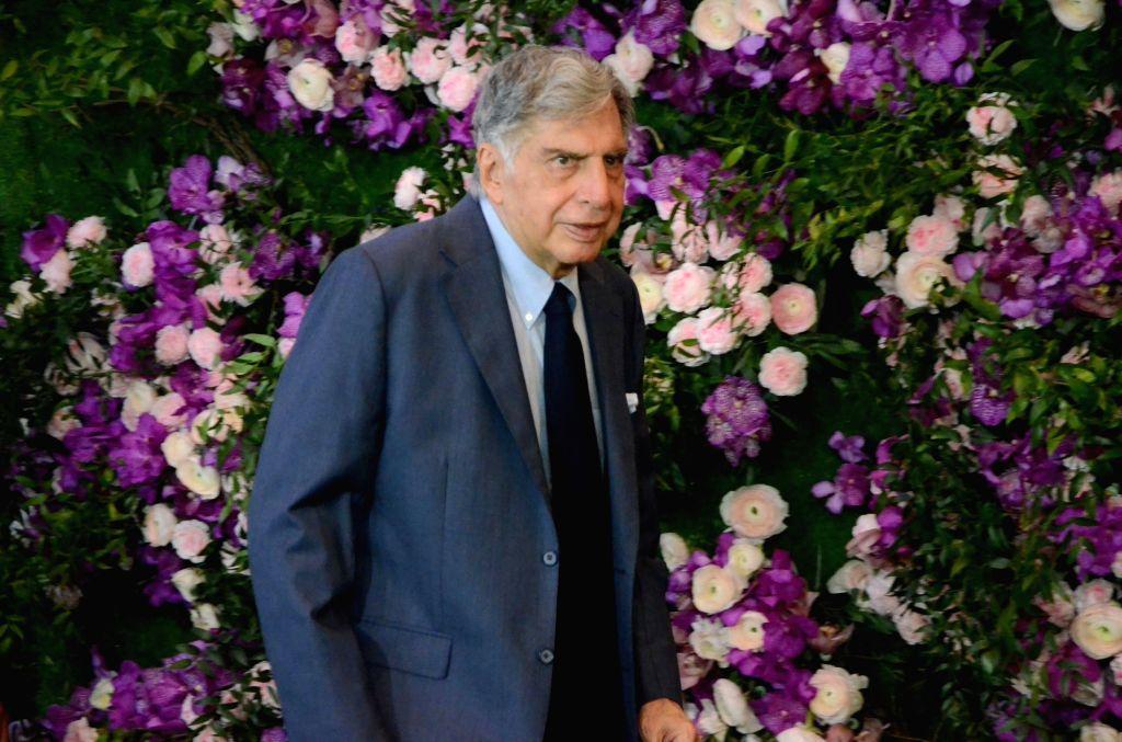 Tata Sons Chairman Ratan Tata at the wedding festivities of Akash Ambani and Shloka Mehta in Mumbai on March 9, 2019. - Ratan Tata, Akash Ambani and Shloka Mehta