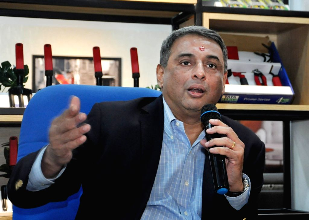 Tata Steel MD T.V. Narendran addresses at the inauguration of 'Steel Junction' store in Kolkata on Aug 10, 2019.