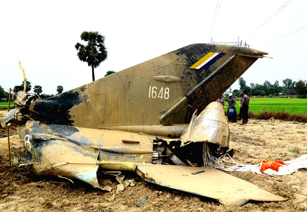 TAUNGOO(MYANMAR), April 3, 2018 The debris is seen at the site of the crash of a military training jet in Taungoo, Bago region, Myanmar, April 3, 2018. A pilot was killed at a Myanmar ...