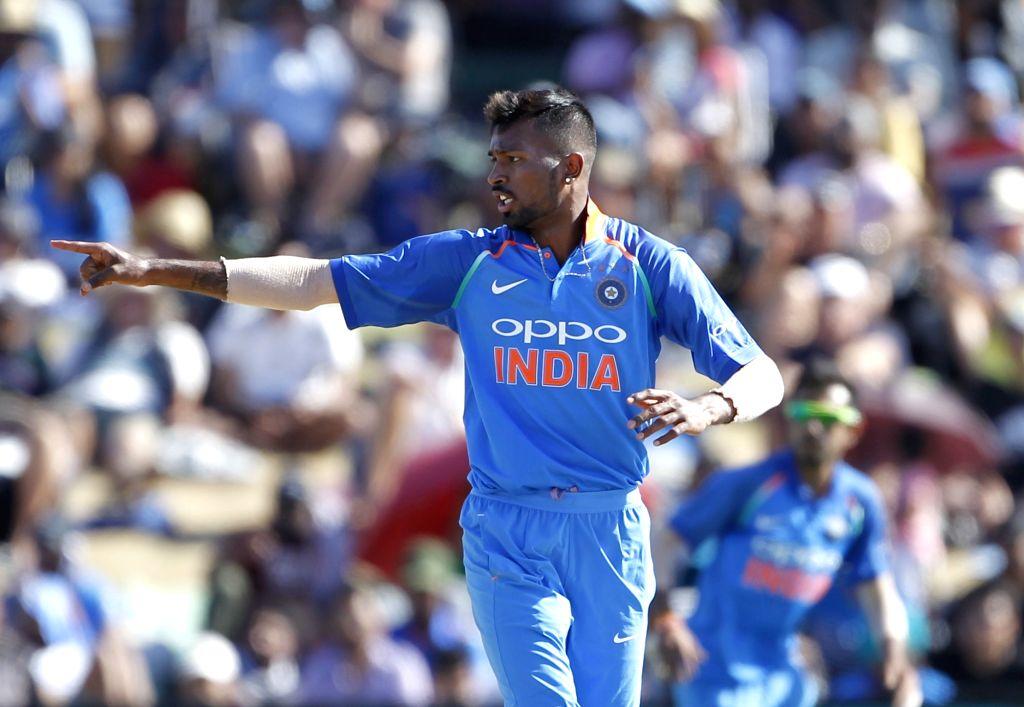 Tauranga: Indian bowler Hardik Pandya in action during 3rd ODI match between India and New Zealand at Bay Oval in Mount Maunganui, Tauranga, New Zealand on Jan. 28, 2019 (Photo Surjeet Yadav/IANS) - Hardik Pandya and Surjeet Yadav
