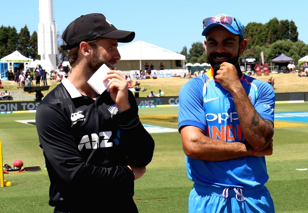 Tauranga: Indian captain Virat Kohli with New Zealand captain Kane Williamson at the toss during 3nd ODI at Bay Oval in Mount Maunganui, Tauranga, New Zealand on Jan. 28, 2019 (Photo Surjeet Yadav/IANS) - Virat Kohli and Surjeet Yadav