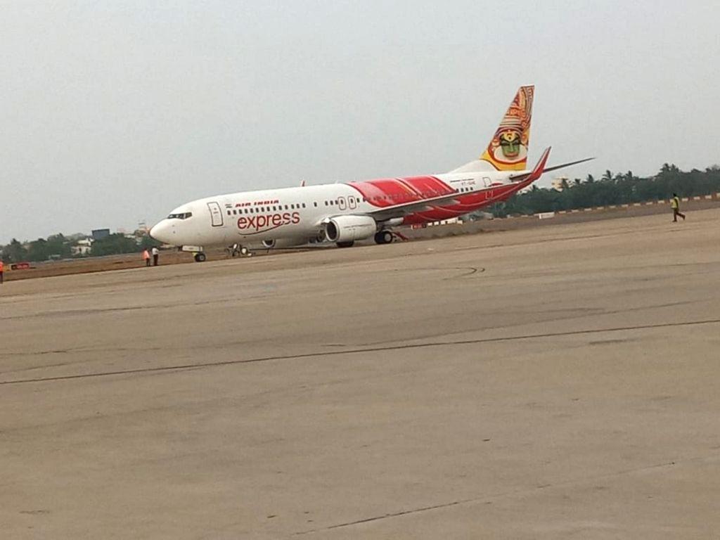 Taxing aircraft's wing knocks down lighting pole in Vijayawada airport