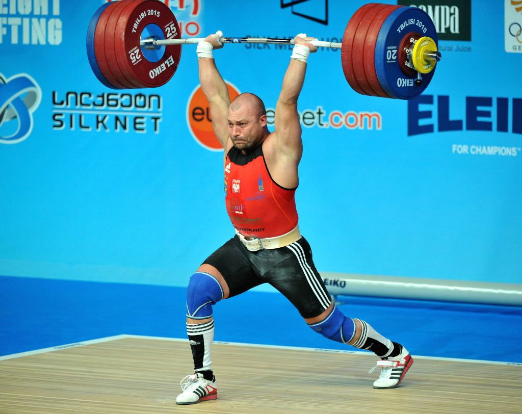 Bartlomiej Bonk of Poland competes during the men's 105kg clean and jerk final of the European Weightlifting Championship in Tbilisi, Georgia, April 18, 2015. ...