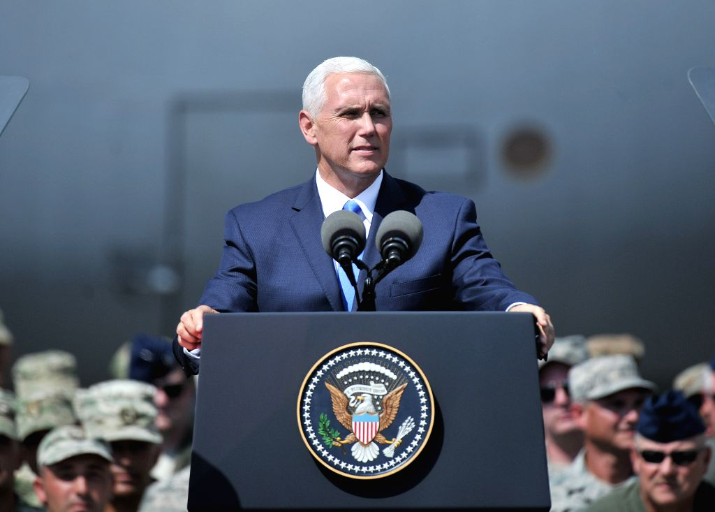 "TBILISI, Aug. 1, 2017 (Xinhua) -- Visiting U.S. Vice President Mike Pence attends a ceremony of the ongoing ""Noble Partner 2017"" multinational military drill in Alekseevka Air Base at Tbilisi, capital of Georgia, Aug. 1, 2017. The two-week-long multi"