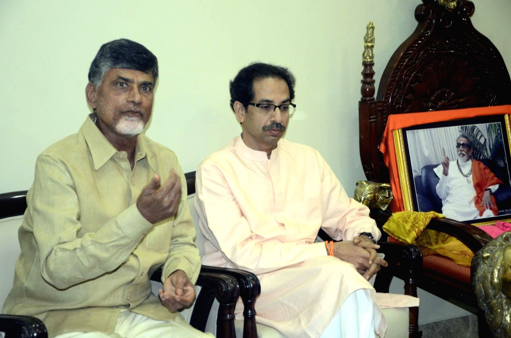 TDP chief N Chandrababu Naidu during a meeting with Shiv Sena chief Uddhav Thackeray in Mumbai on Feb.5, 2014. - N Chandrababu Naidu