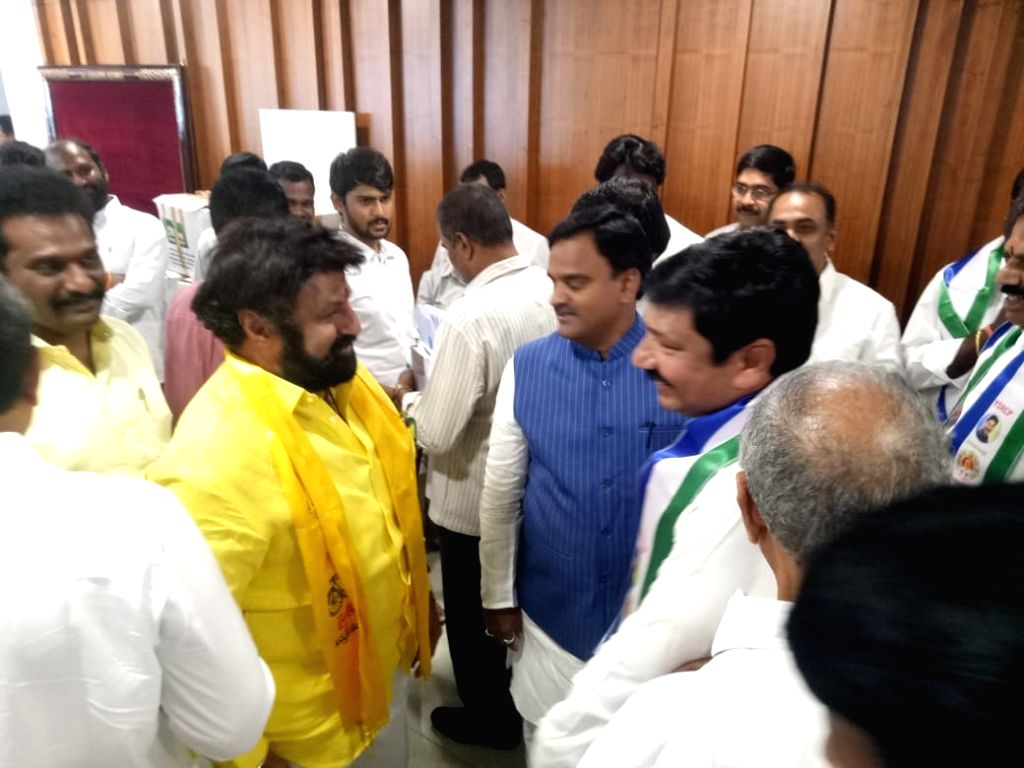 TDP Hindupur MLA Nandamuri Balakrishna arrives at the first session of new Andhra Pradesh Assembly, in Amaravati on June 12, 2019.