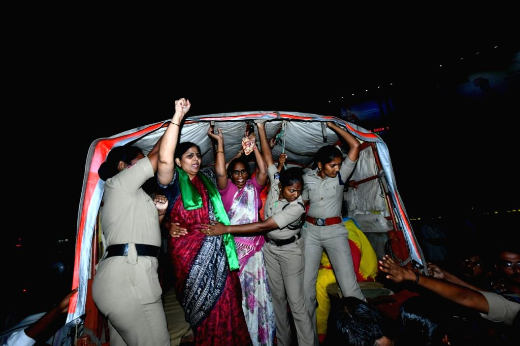 TDP leaders who had gathered at Benz Circle to embark on a 'bus yatra' as part of the continuing protest by Amaravati farmers over the YSRCP government's three capitals proposal, being ...
