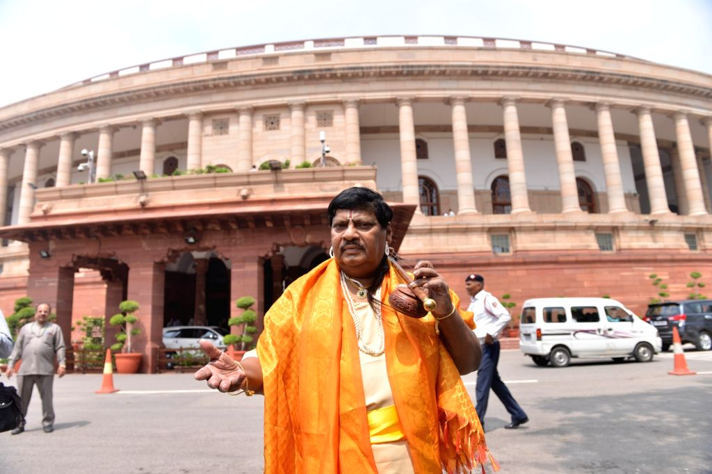 TDP MP Naramalli Sivaprasad disguised as a folk singer at Parliament in New Delhi on July 23, 2018.