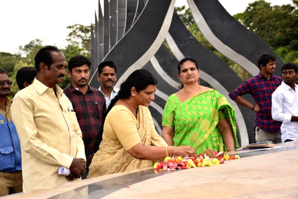 TDP party founder N.T. Rama Rao's widow Lakshmi Parvathi at the NTR memorial in Hyderabad on Nov 3, 2018. - T. Rama Rao
