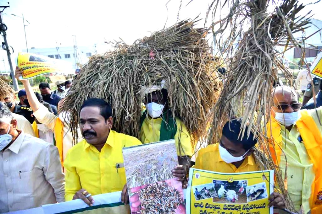 TDP President N. Chandrababu Naidu led a protest with farmers on the opening day of the Winter Session of the Andhra Pradesh Assembly, in Amaravati on Nov 30, 2020. - N. Chandrababu Naidu