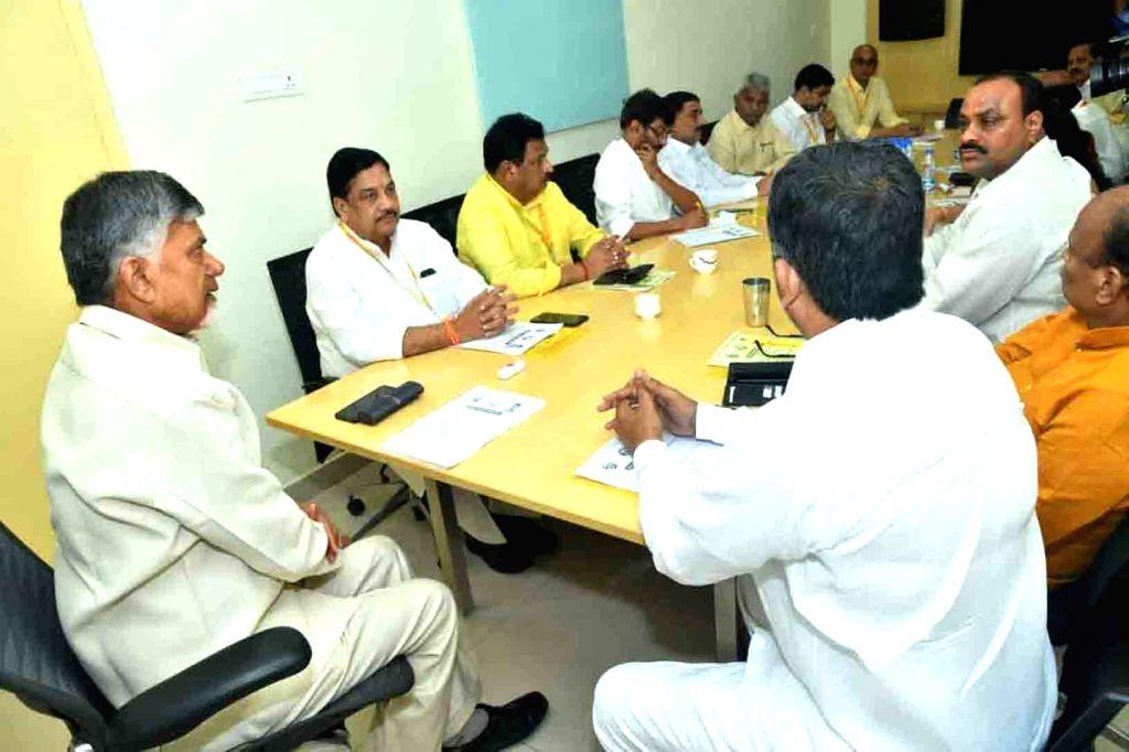 TDP supremo N. Chandrababu Naidu presides over the party's Polit Bureau Meeting at NTR Bhavan in Hyderabad, on Oct 17, 2019. - N. Chandrababu Naidu