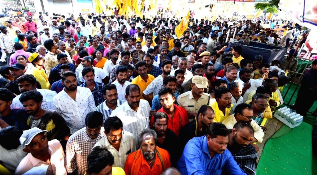 TDP workers participate in 12-hour-long fast undertaken by their party President N. Chandrababu Naidu over sand scarcity in Andhra Pradesh; in Vijayawada on Nov 14, 2019. Former Andhra ... - N. Chandrababu Naidu