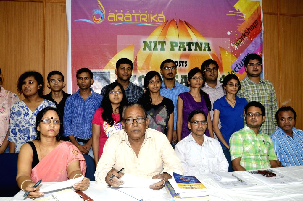 Teachers and students of National Institute of Technology (NIT) Patna's Architecture Department during a press conference regarding a workshop in Patna on Aug 26, 2014.