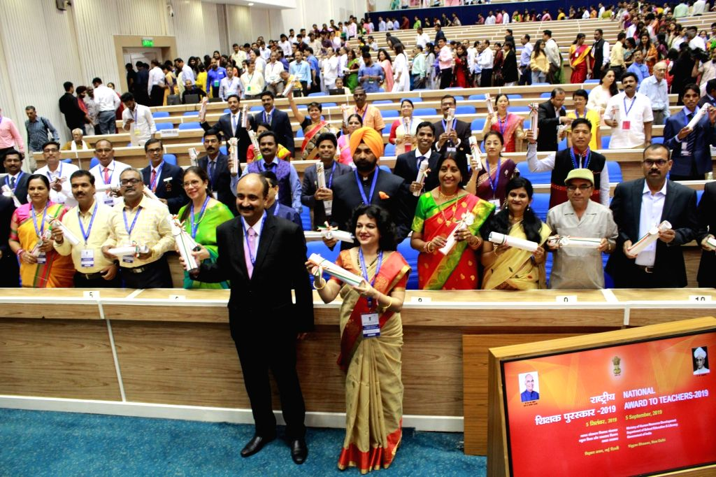 Teachers who were felicitated with the National Award to Teachers 2019 by President Ram Nath Kovind on the occasion of Teachers' Day, during an award ceremony in New Delhi on Sep 5, 2019. - Nath Kovind