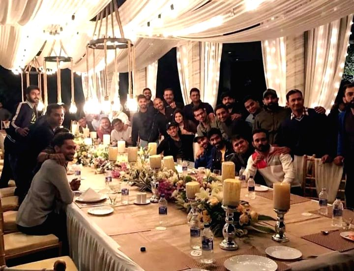 Team India at a dinner hosted by MS Dhoni in Ranchi. - MS Dhoni