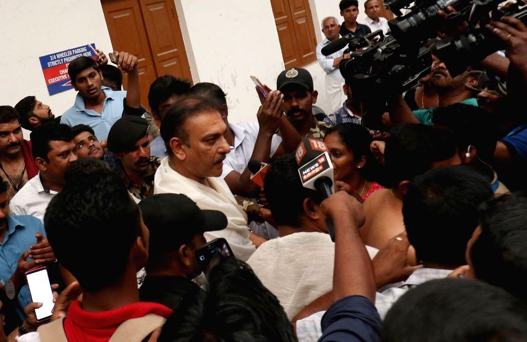 Team India coach Ravi Shashtri visits at Sree Padmanabhaswamy Temple in Thiruvananthapuram on Oct 31, 2018.