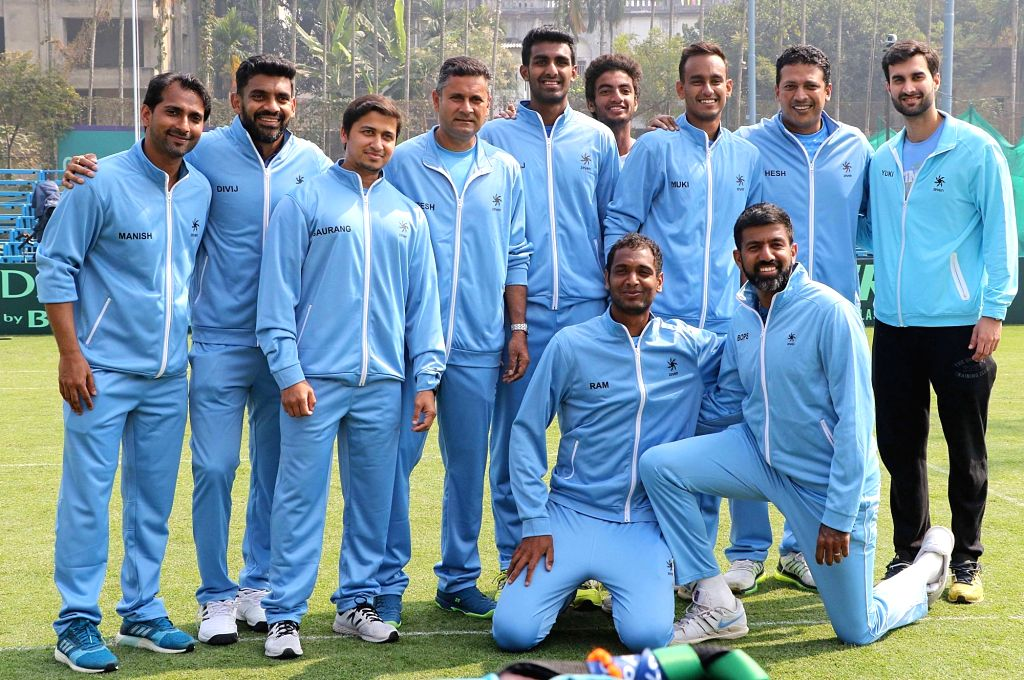 Team India during a practice session ahead of Davis Cup in Kolkata on Jan 31, 2019.