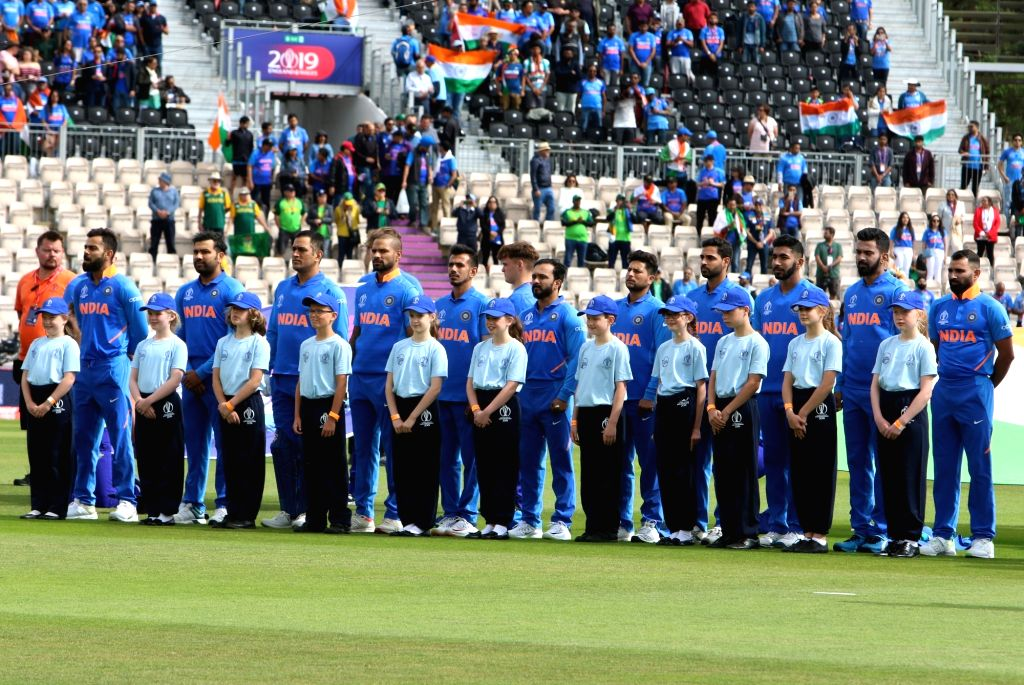 Team India during the national anthem ahead of the 8th match of 2019 World Cup between India and South Africa at The Rose Bowl in Southampton, England on June 5, 2019.