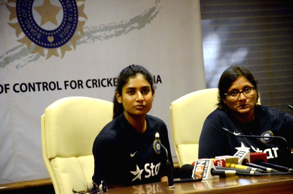Team India (women) cricket captain Mithali Raj addresses during press conference ahead of their Australian tour in Mumbai, on Jan 18, 2016. Also seen team India (women) cricket coach Purnima ... - Purnima Rao