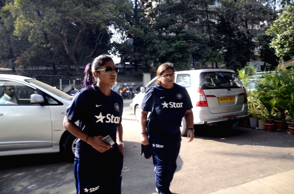Team India (women) cricket captain Mithali Raj arrives during press conference ahead of their Australian tour in Mumbai, on Jan 18, 2016. Also seen team India (women) cricket coach Purnima ... - Purnima Rao
