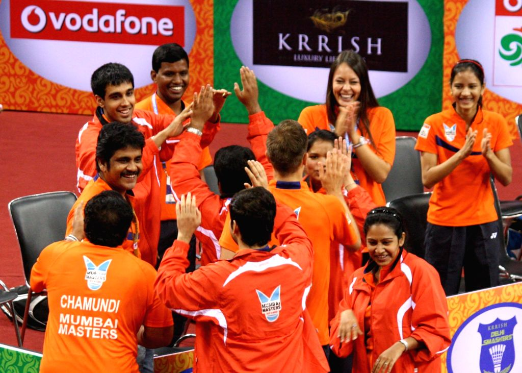 Team Mumbai Masters celebrate win at the Indian Badminton League in New Delhi on August 15, 2013. (Photo::: IANS)