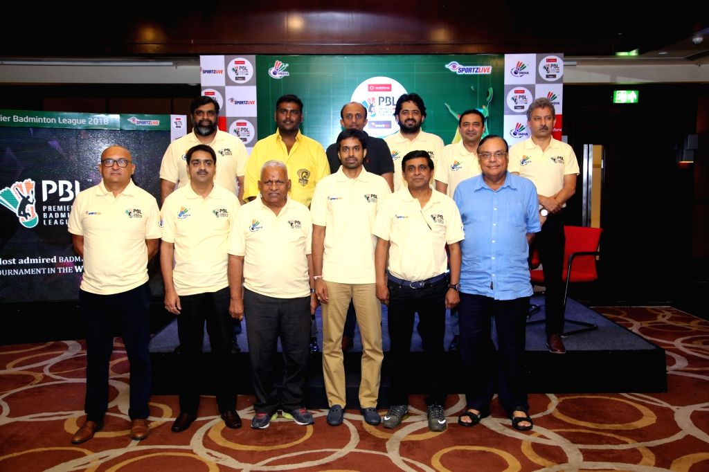 Team Owners of Hyderabad Hunters, Chennai Smashers, Delhi Acers, Awadhe Warrior, Ahmedabad Smash Masters and Mumbai Rockets along with BAI President Dr Himanta Biswa Sarma, national coach P ... - Atul Pandey
