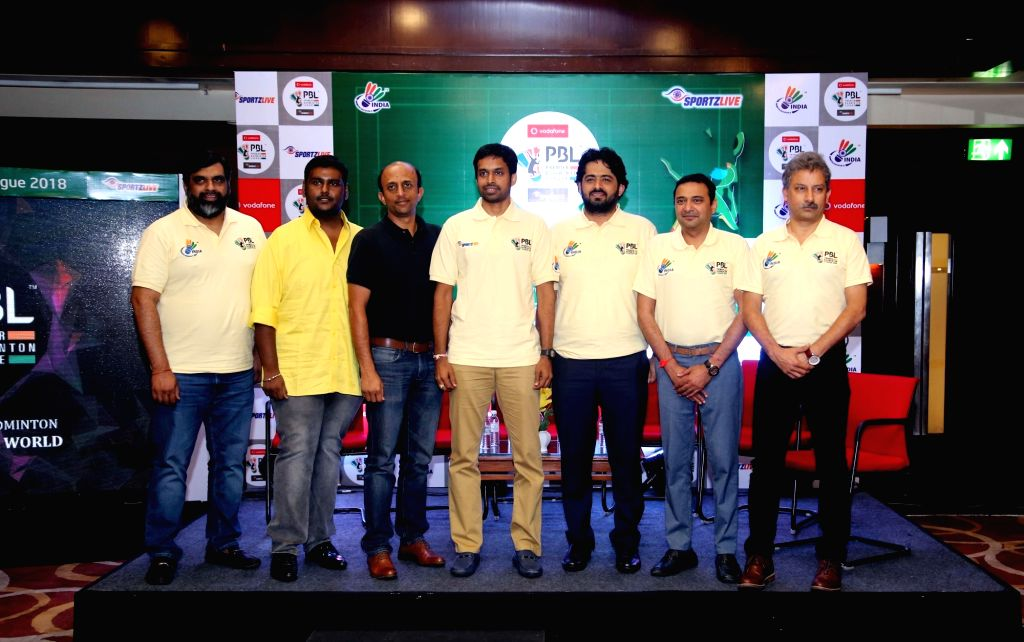 Team Owners of Hyderabad Hunters, Chennai Smashers, Delhi Acers, Awadhe Warrior, Ahmedabad Smash Masters and Mumbai Rockets along with national coach P Gopichand during the announcement of ...