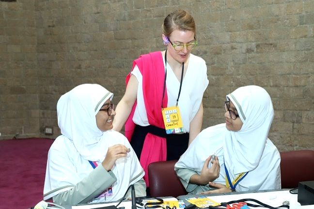 Technology Innovator Caroline Dahl interactes with students at a workshop on gender equality in education and workplace organised during Tekla Festival in Mumbai on Dec 5, 2019.