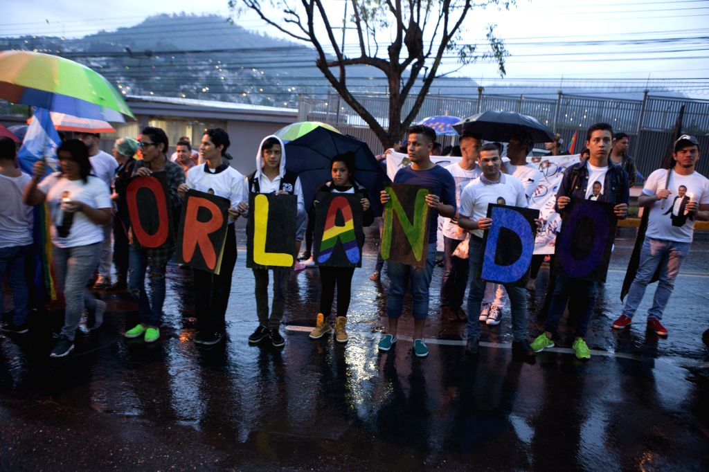 TEGUCIGALPA, June 17, 2016 - Members of lesbian, gay, transexual, bisexual and intersexual communities take part in a rally in solidarity with the relatives of the Orlando shooting victims, in front ...