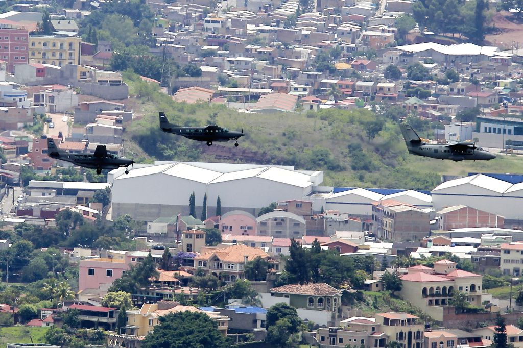 TEGUCIGALPA, Sept. 16, 2017 - Planes of the Honduran Air Force take part in an air show during the celebrations of the independence of Honduras in Tegucigalpa, Honduras, on Sept. 15, 2017.