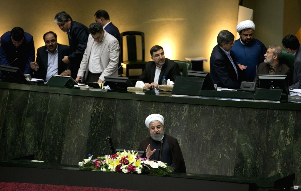 TEHRAN, Aug. 16, 2017 - Iranian President Hassan Rouhani (front) speaks at a parliament meeting in Tehran, Iran, on Aug. 15, 2017. Iranian President Hassan Rouhani submitted the list of ministerial ... - Hassan Rouhani
