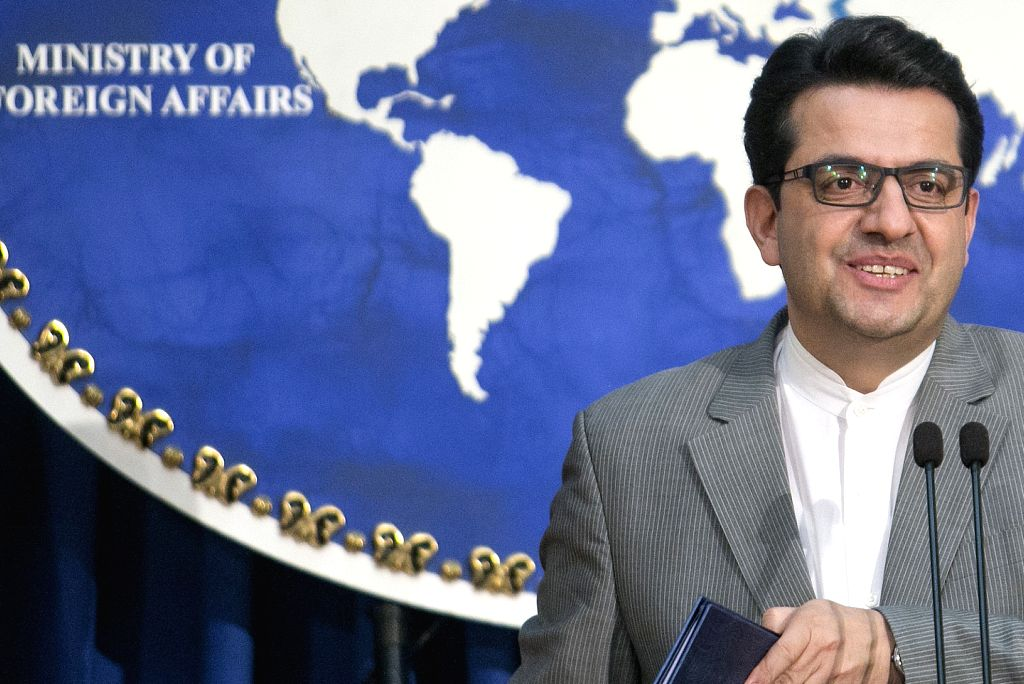 TEHRAN, Aug. 20, 2019 (Xinhua) -- Spokesman of Iran's Foreign Ministry Abbas Mousavi attends a press conference in Tehran, Iran, Aug. 19, 2019. Iran's Foreign Ministry on Monday warned against any attempt by the United States to seize the Iranian oil
