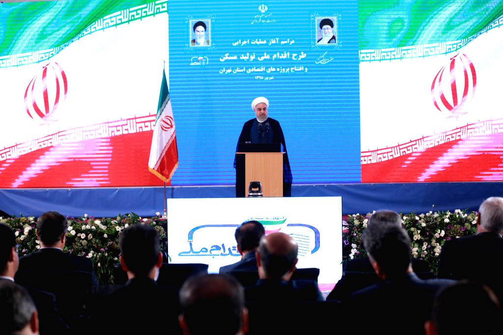 TEHRAN, Aug. 28, 2019 (Xinhua) -- Iranian President Hassan Rouhani delivers a speech in Tehran, Iran, on Aug. 27, 2019. Iranian officials on Tuesday urged the United States to lift its sanctions against Iran to pave the way for talks on mutual issues - Hassan Rouhani