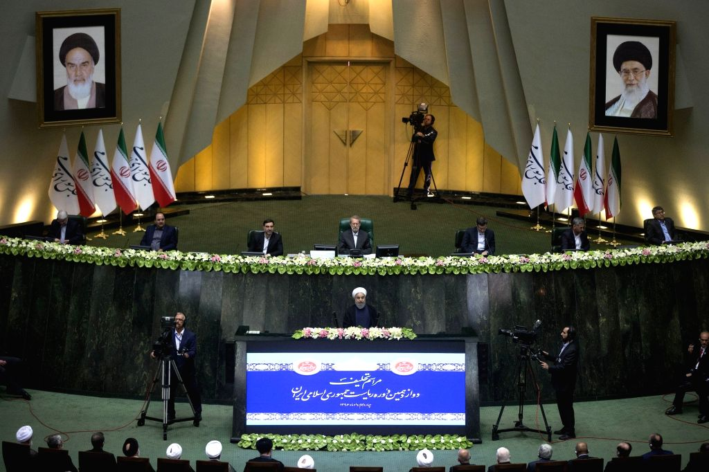 TEHRAN, Aug. 5, 2017 - Hassan Rouhani (C) delivers a speech during his inauguration ceremony as Iranian President in Iran's parliament in Tehran, capital of Iran, on Aug. 5, 2017. Hassan Rouhani was ...
