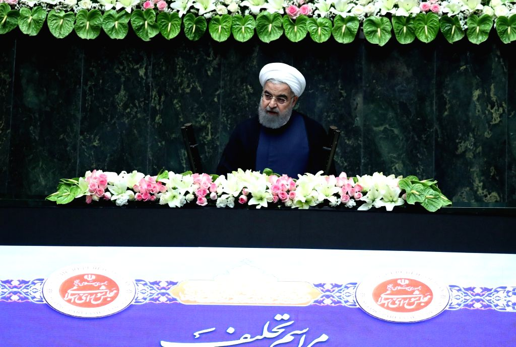 TEHRAN, Aug. 5, 2017 - Hassan Rouhani delivers a speech during his inauguration ceremony as Iranian President in Iran's parliament in Tehran, capital of Iran, on Aug. 5, 2017. Hassan Rouhani was ...