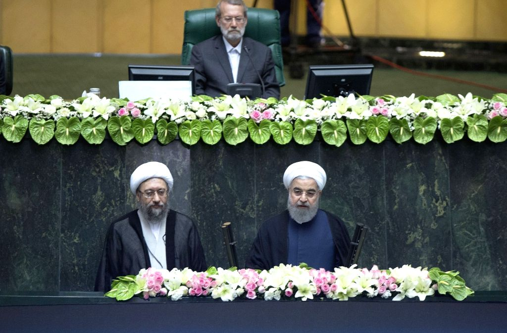TEHRAN, Aug. 5, 2017 - Hassan Rouhani (R, Front) attends his inauguration ceremony as Iranian President in Iran's parliament in Tehran, capital of Iran, on Aug. 5, 2017. Hassan Rouhani was sworn in ...